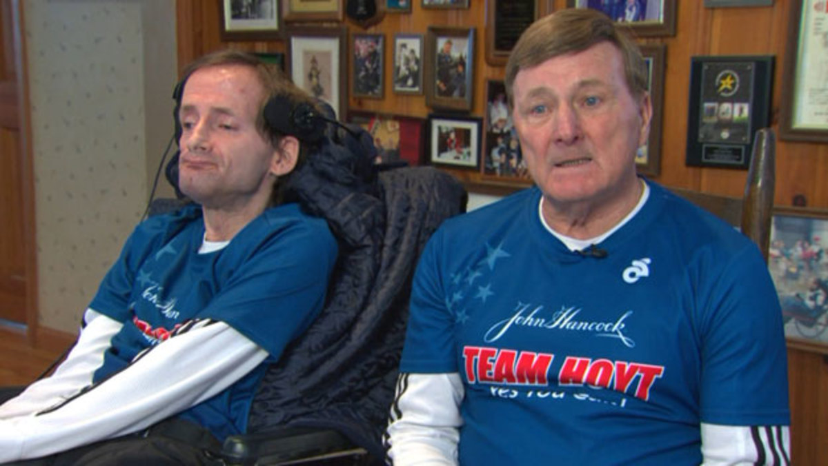 Dick and Rick Hoyt during an interview.