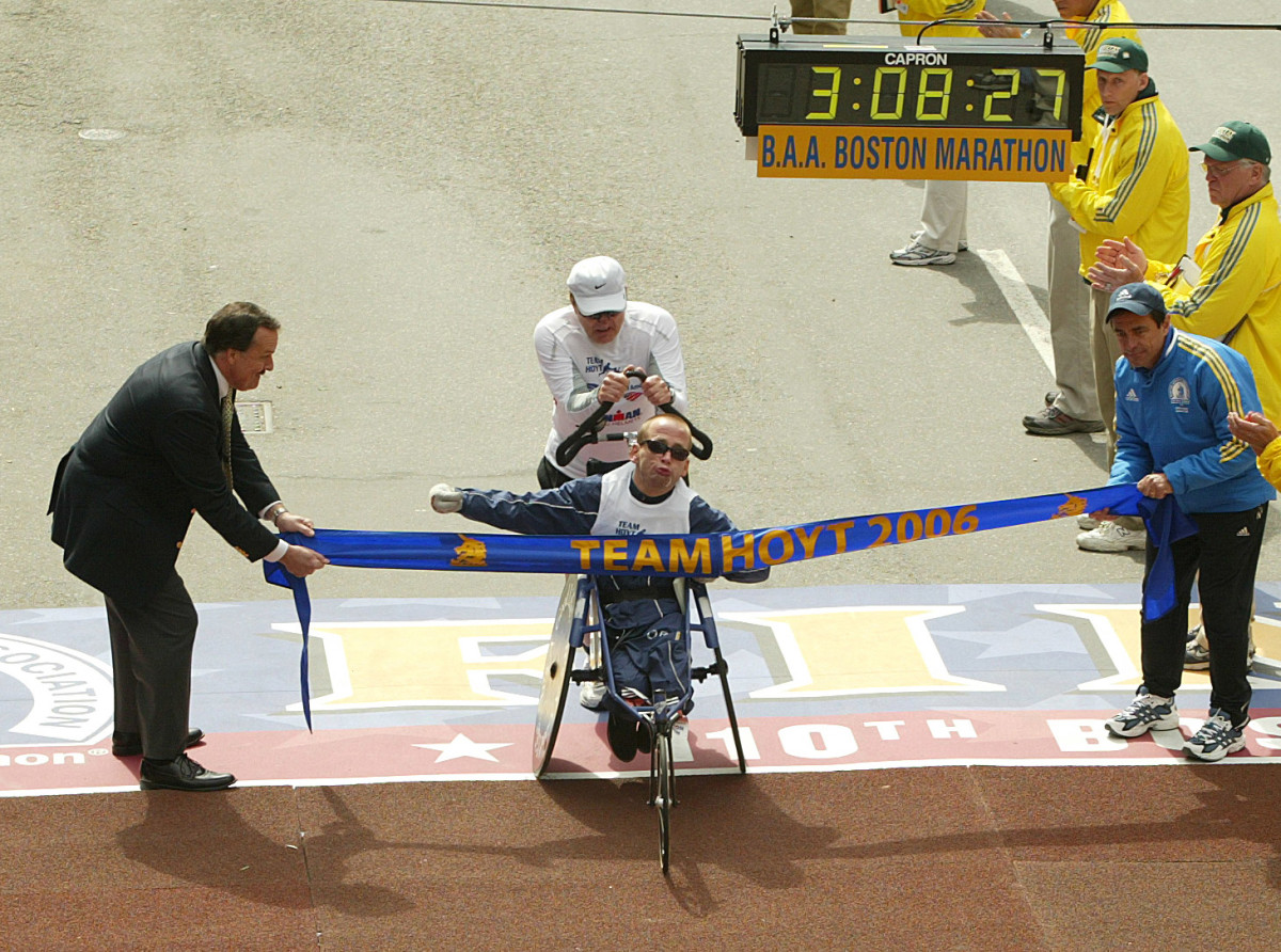 Dick and Rick Hoyt crossing finish line at the Boston Marathon.