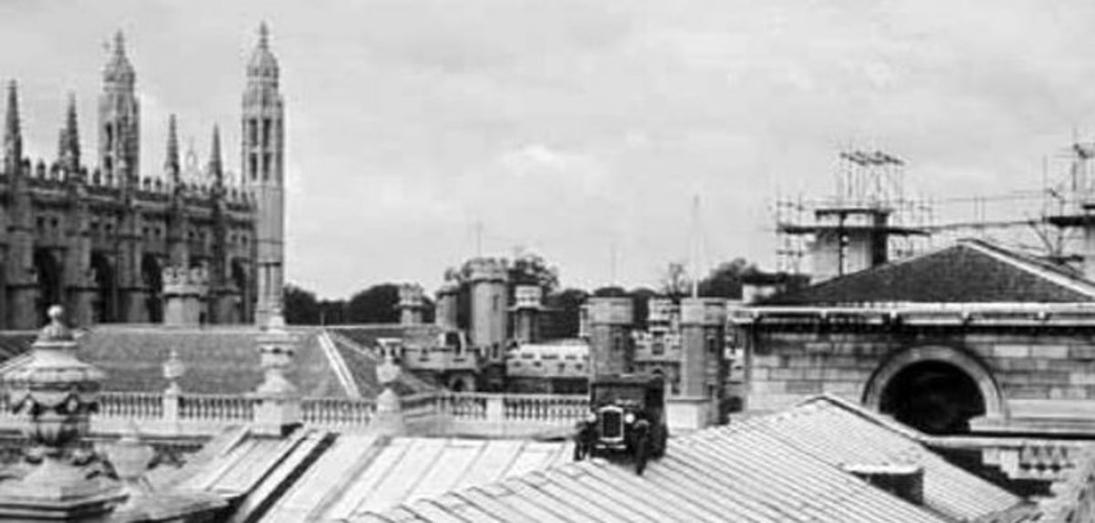 The Austin Seven perched on the roof of the Senate House.