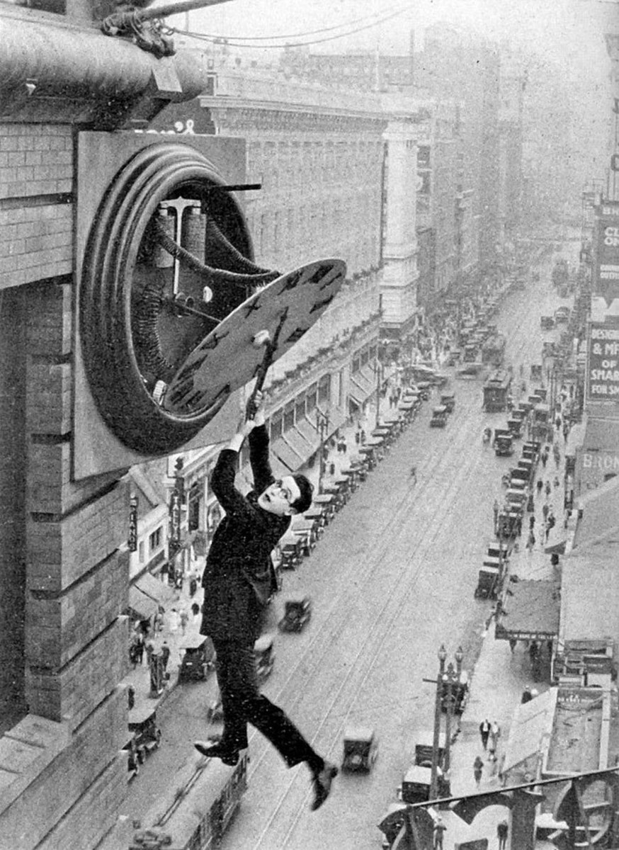 Actor Harold Lloyd was early into scary stunts as here above Los Angeles in 1928.
