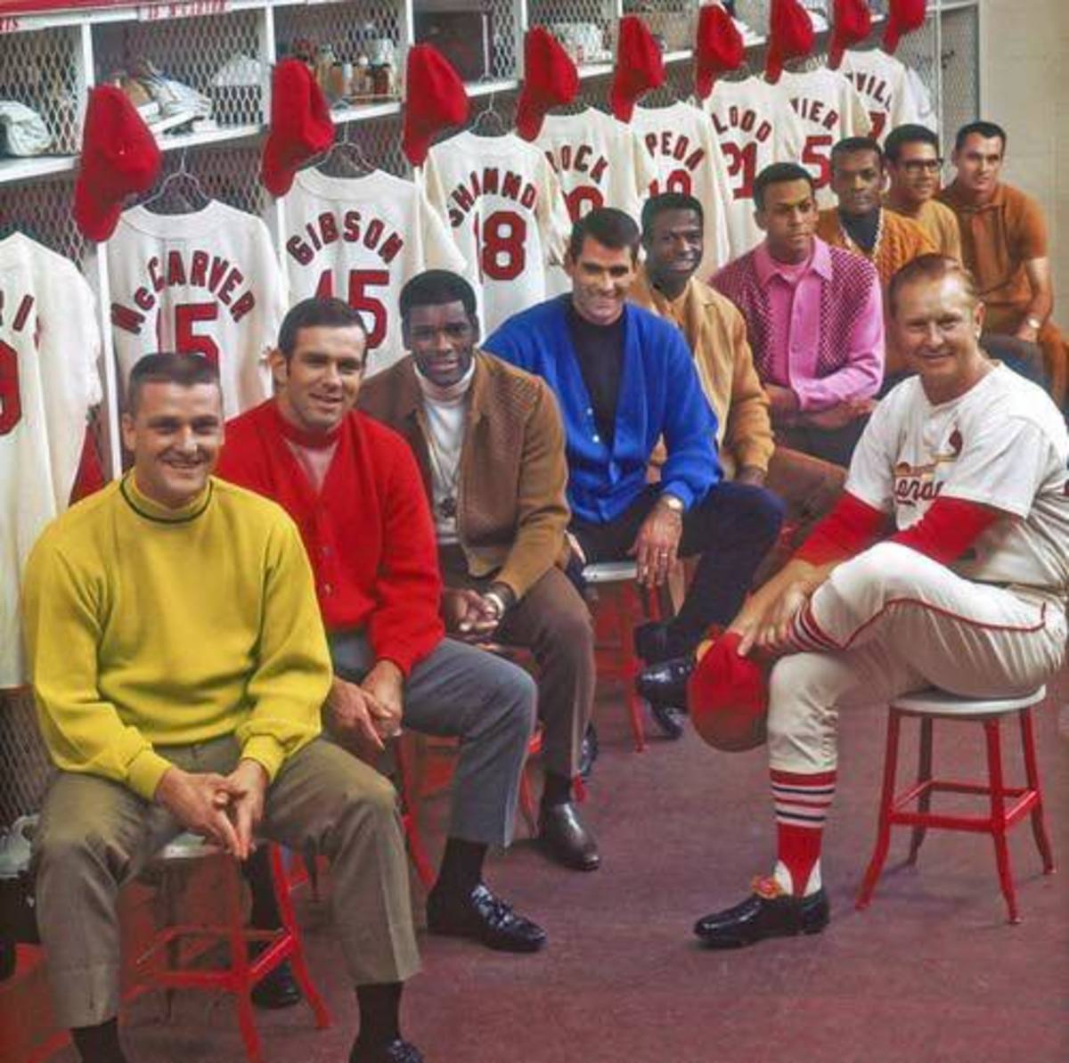 Some of the '68 Cards: Maris, McCarver, Gibson, Shannon, Brock, Cepeda, Flood, Javier and Maxvill with Mgr. Red Schoendienst.