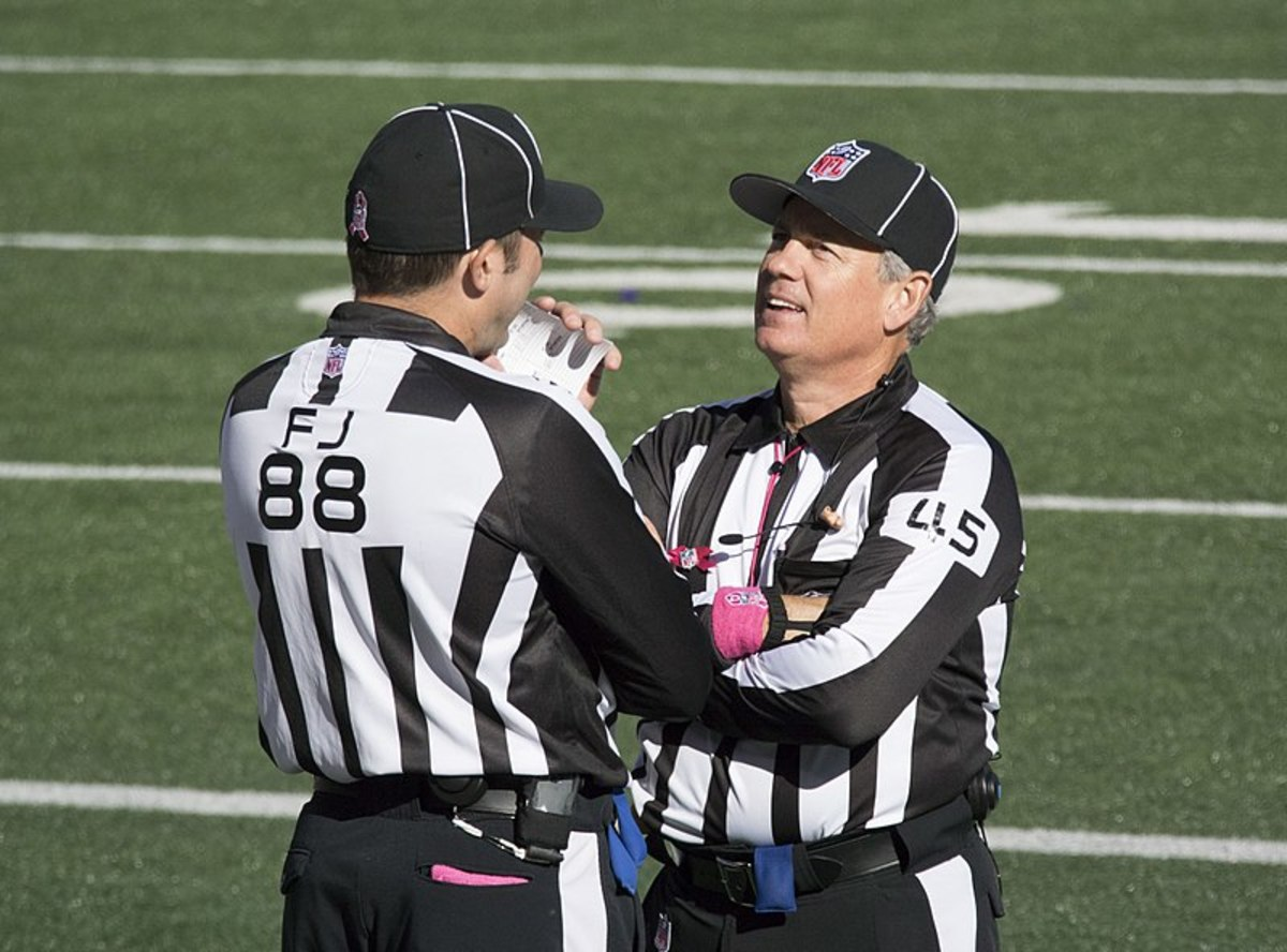 NFL officials communicate when calling penalties, to make sure they get it right.