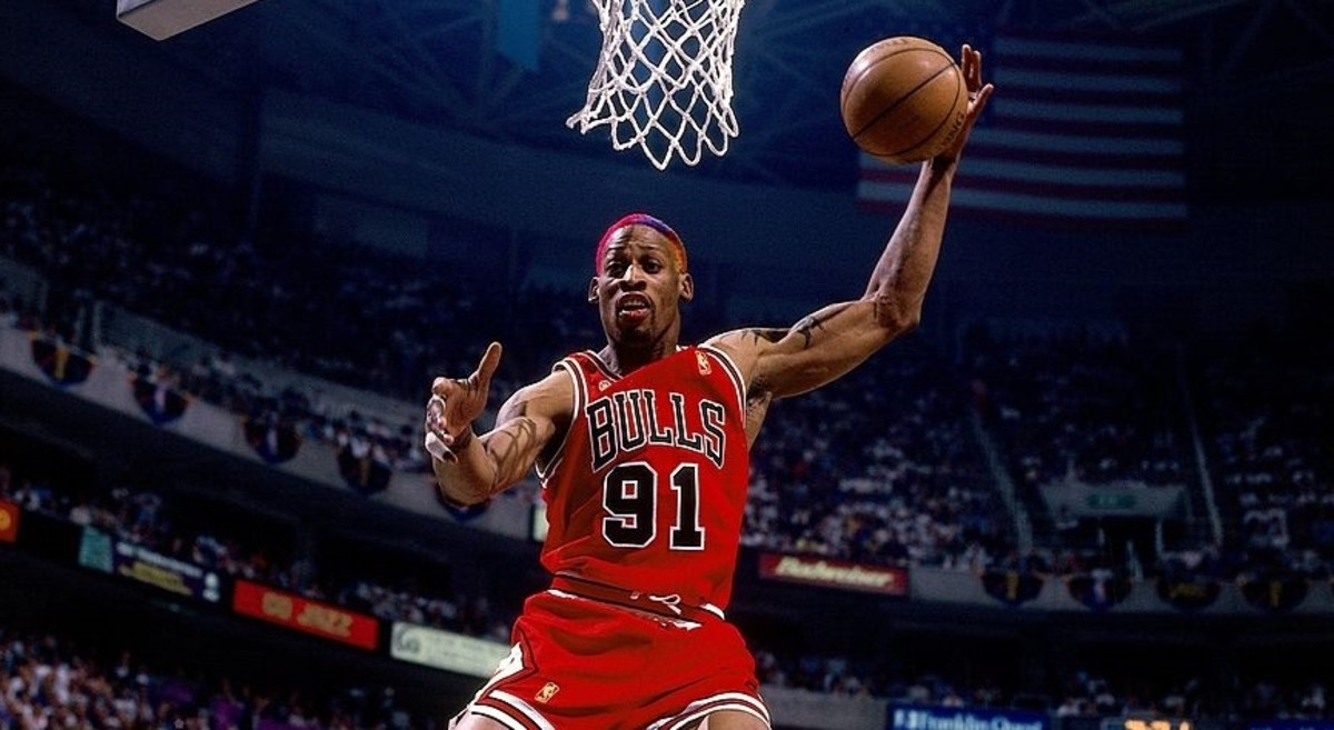 Dennis Rodman may be a colorful character with his colored hair and tattoos but he was a fearsome competitor on the court..