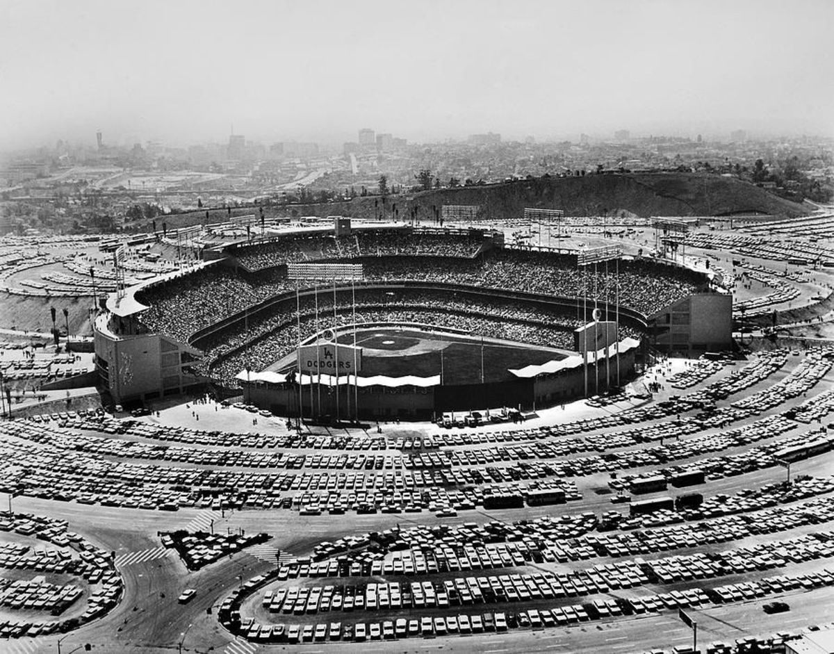 Dodger Stadium in its inaugural year, 1962.
