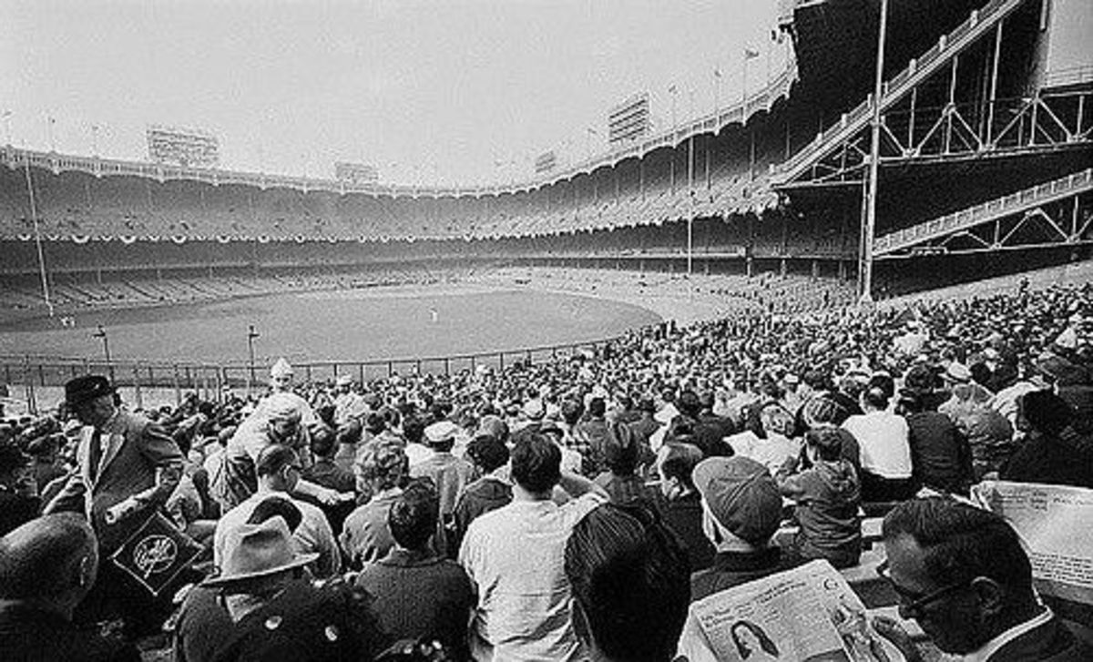 Yankee Stadium, as seen from the left field bleachers in the early 60s.