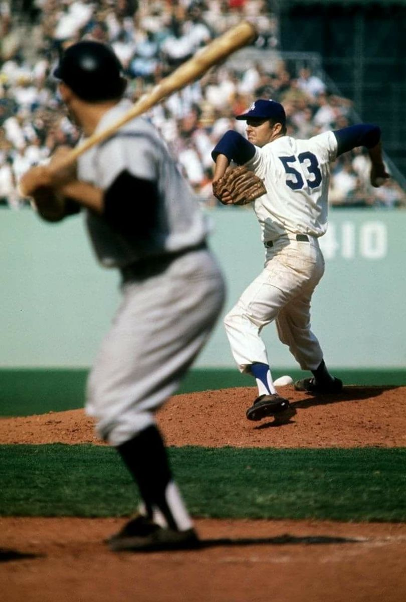 Drysdale delivers to pinch hitter Yogi Berra with his iconic wind up. It was Yogi's last World Series at bat.