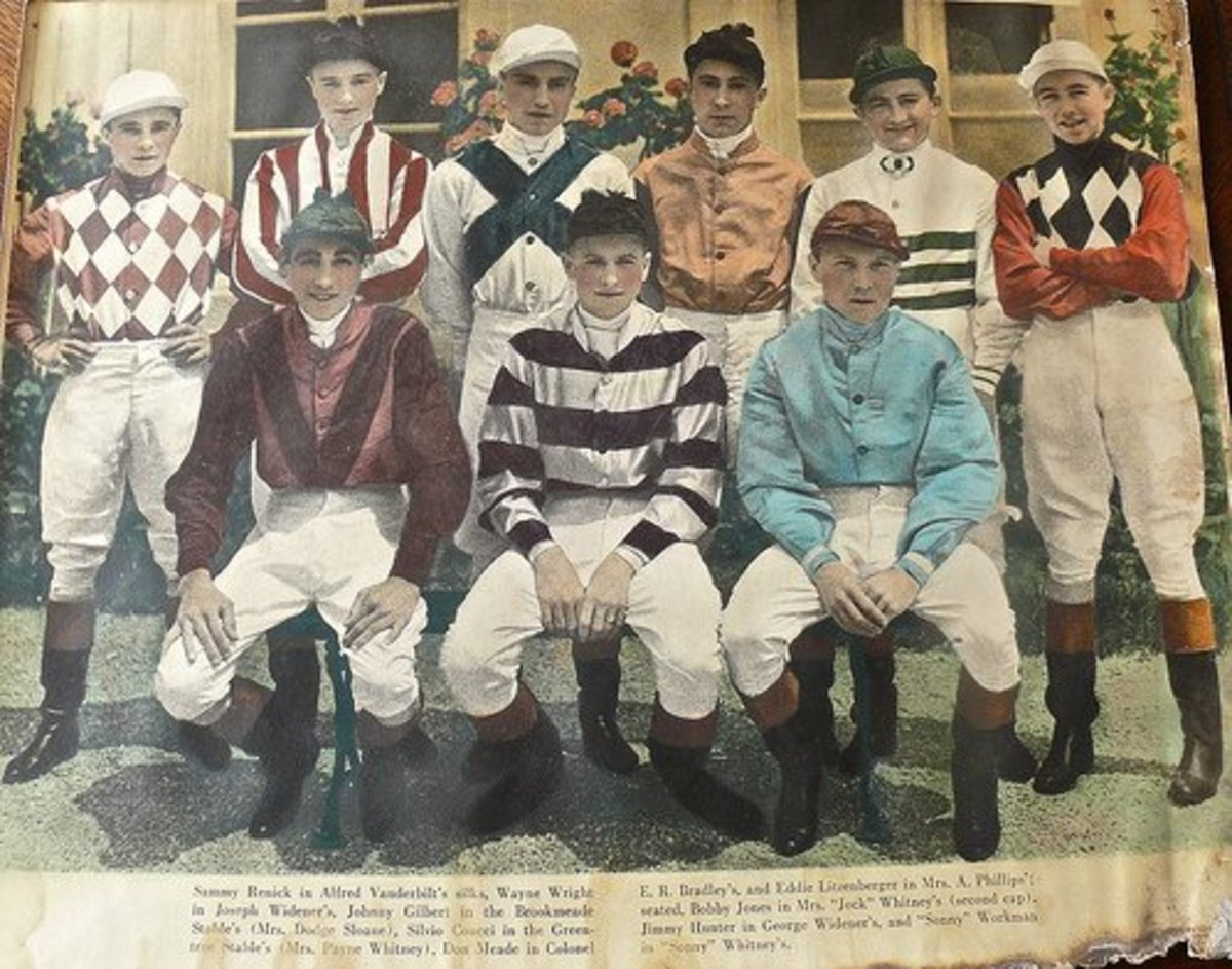 All-white jockeys of the 1933 Kentucky Derby.