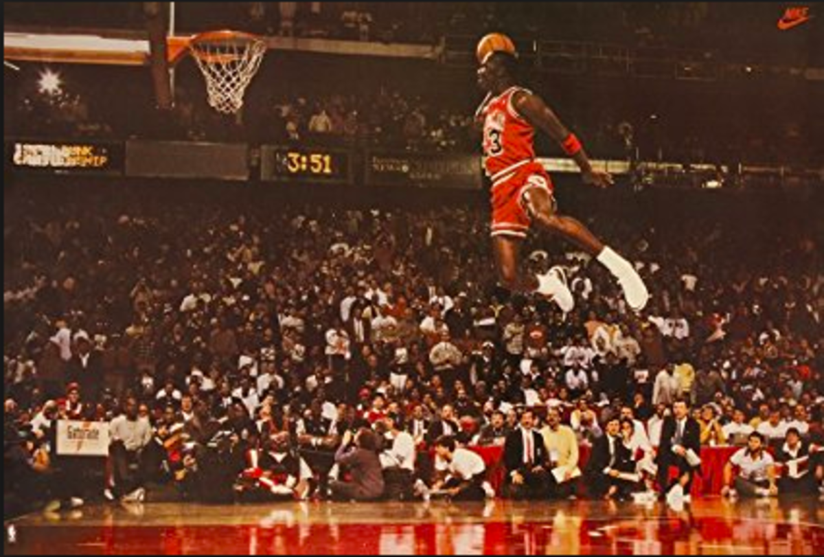 Jordan dunking from the free throw line in the 1988 dunk contest