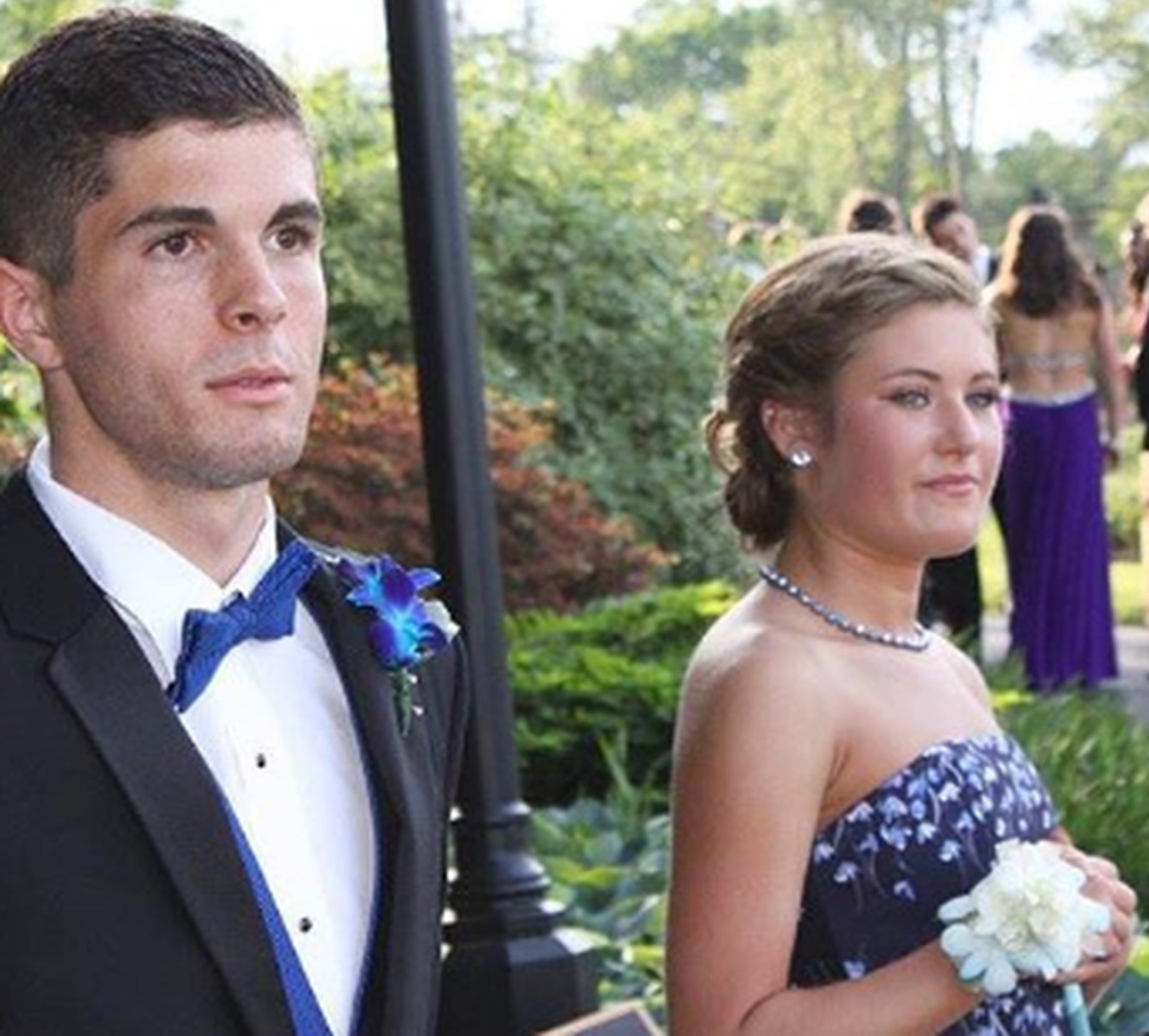 Christian Pulisic attending his senior prom in Hershey, Pennsylvania with his date at his side.