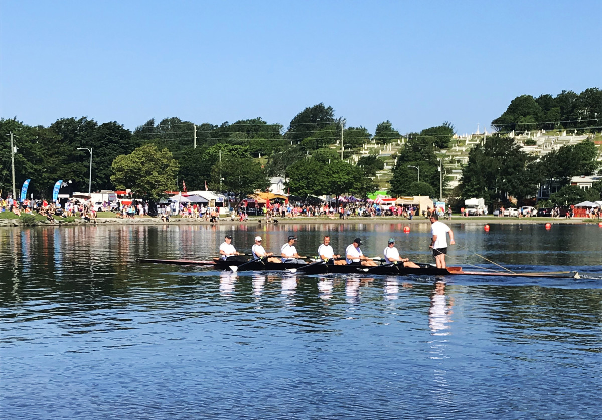 A crew getting into starting position for one of the men's races, Royal St. John's Regatta 2018