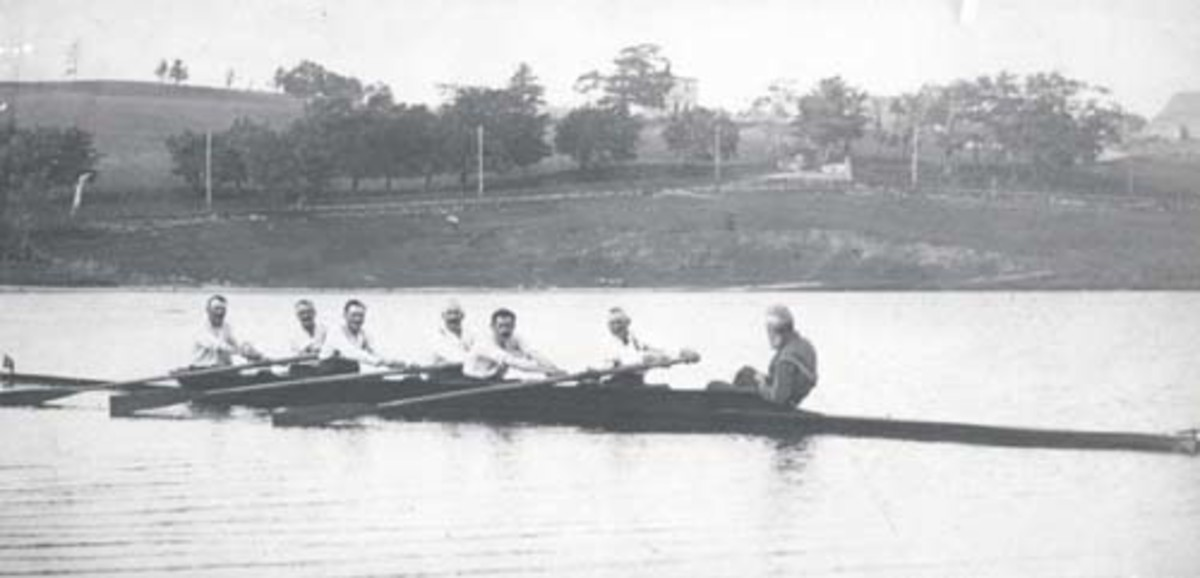 The 1922 Outer Cove Crew, rowing a Bob Sexton racing shell