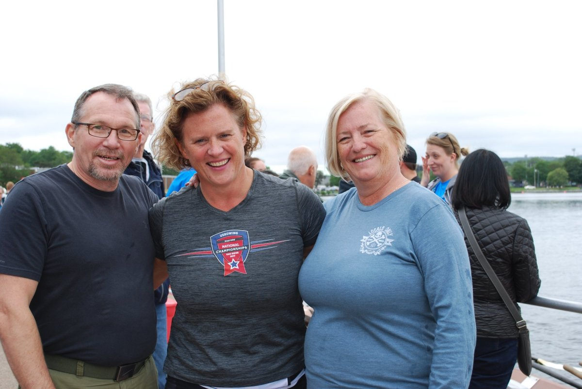 The author, Siobhan Duff, and the author's wife, Kim Power Barnes, pond side at the 2018 Royal St. John's Regatta.