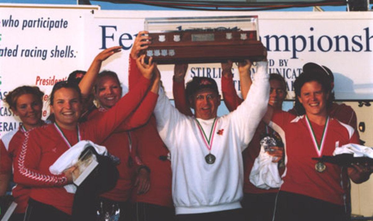 The 2003 OZFM Record setting crew, Siobhan Duff, Tracey Hogan, Kristine Power, Jackie Handrigan, Nicole Hamlyn, Amanda Hancock and Coxswain Richard Bailey.