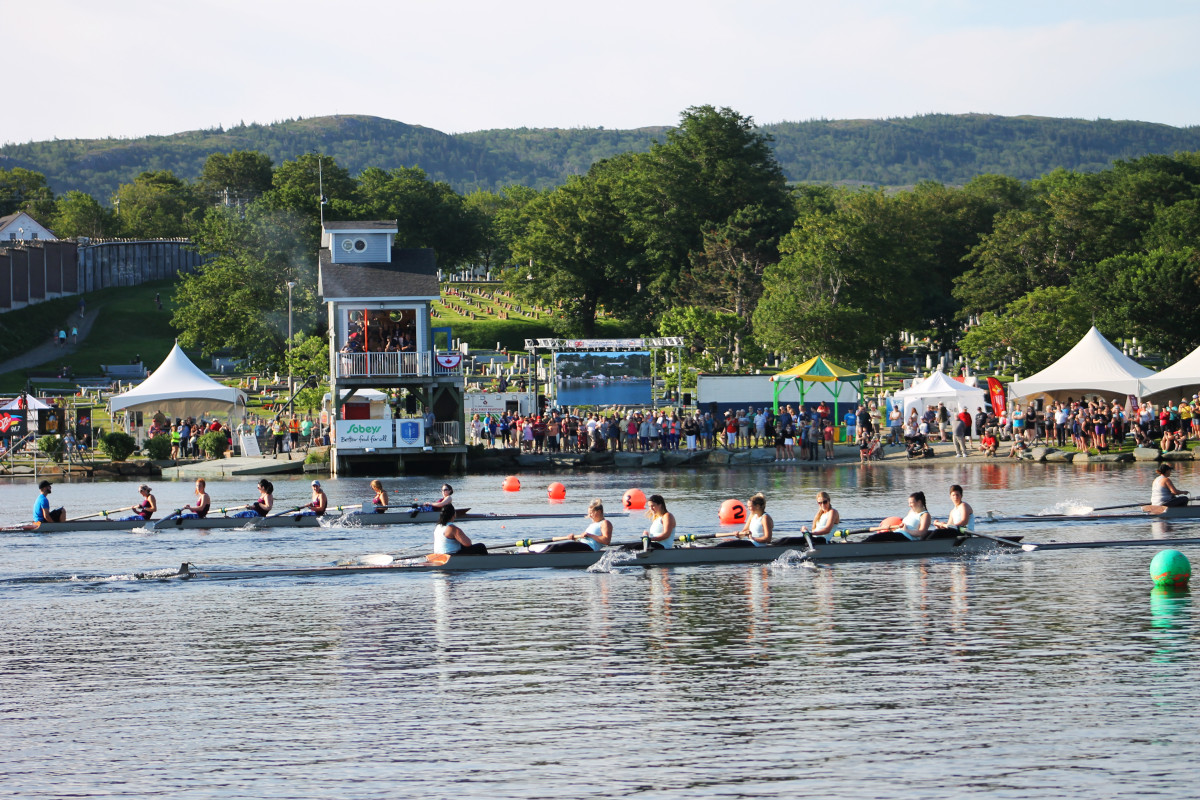 Rowers line up at the starting line for one of the women's races, Royal St. John's Regatta, 2018