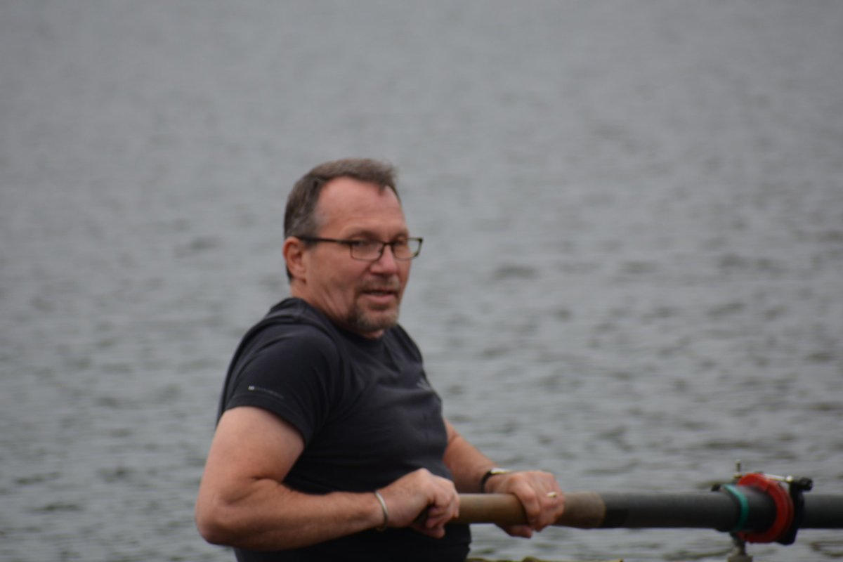 "The author rowing in the ""fun"" regatta media race. The author, his wife Kim, and 4 other writers and journalists made up the ""Writers and Nearly Dead Poets Society"" crew. They came 2nd in the media race."