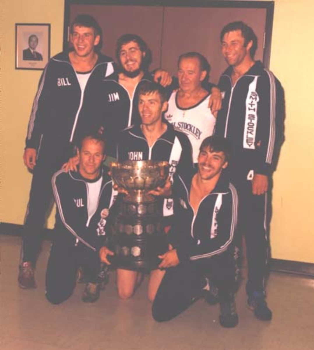 1981 Smith Stockley Crew that broke the 80 year old Outer cove Record. Front row: (l-r)Paul Ring, John Barrington Sr., Brian Cranford. Back Row: (l-r) Bill Holwell, Randy Ring, Skipper Jim Ring, Tom Power