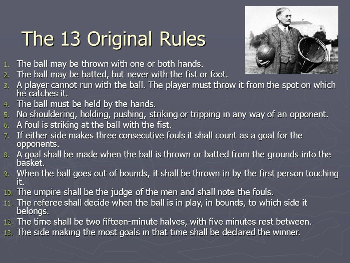13 original rules of basketball.