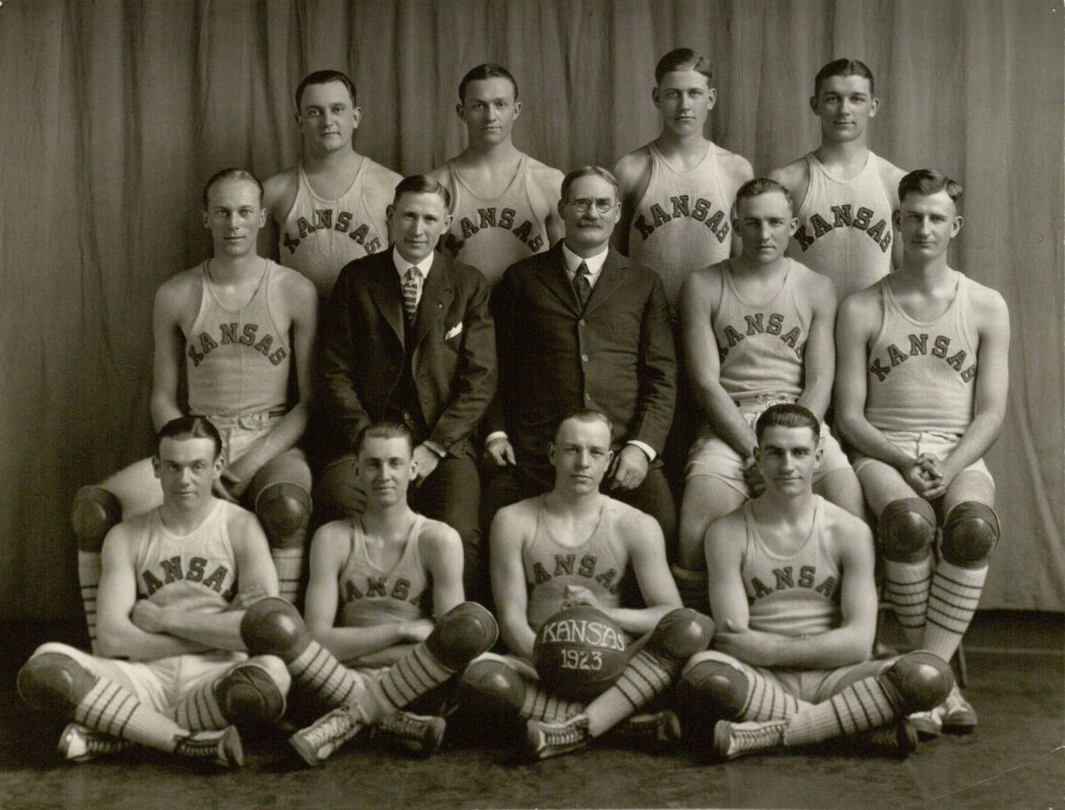 James Naismith and the University of Kansas basketball team.
