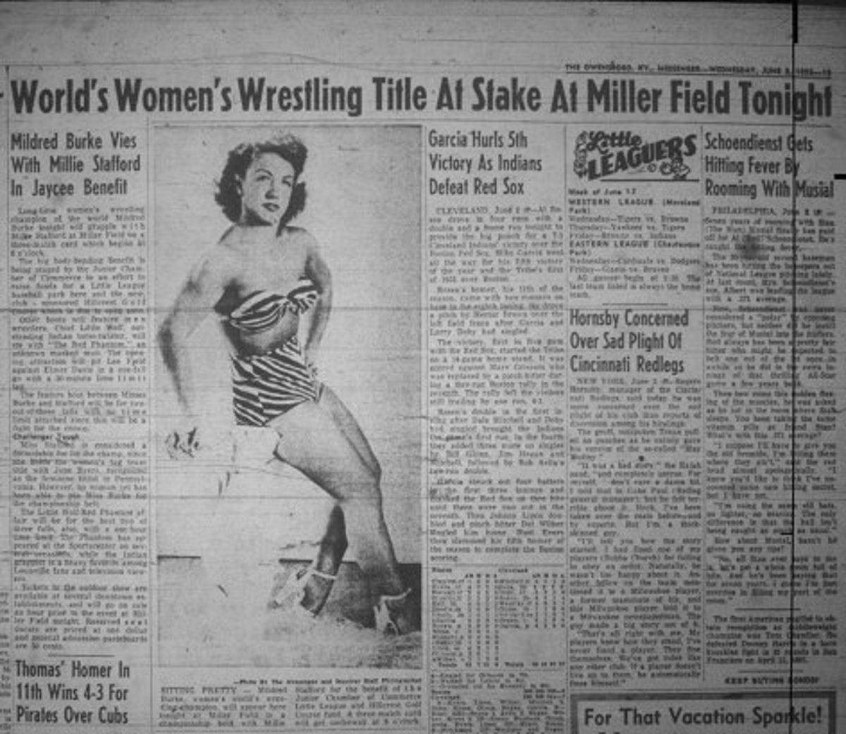 Newspaper article about Mildred Burke wrestling match