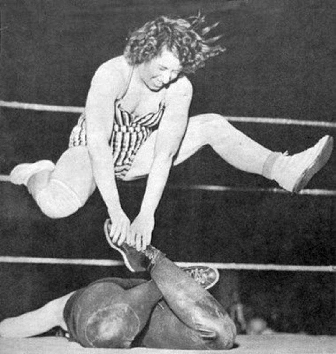 Mildred Burke during wrestling match