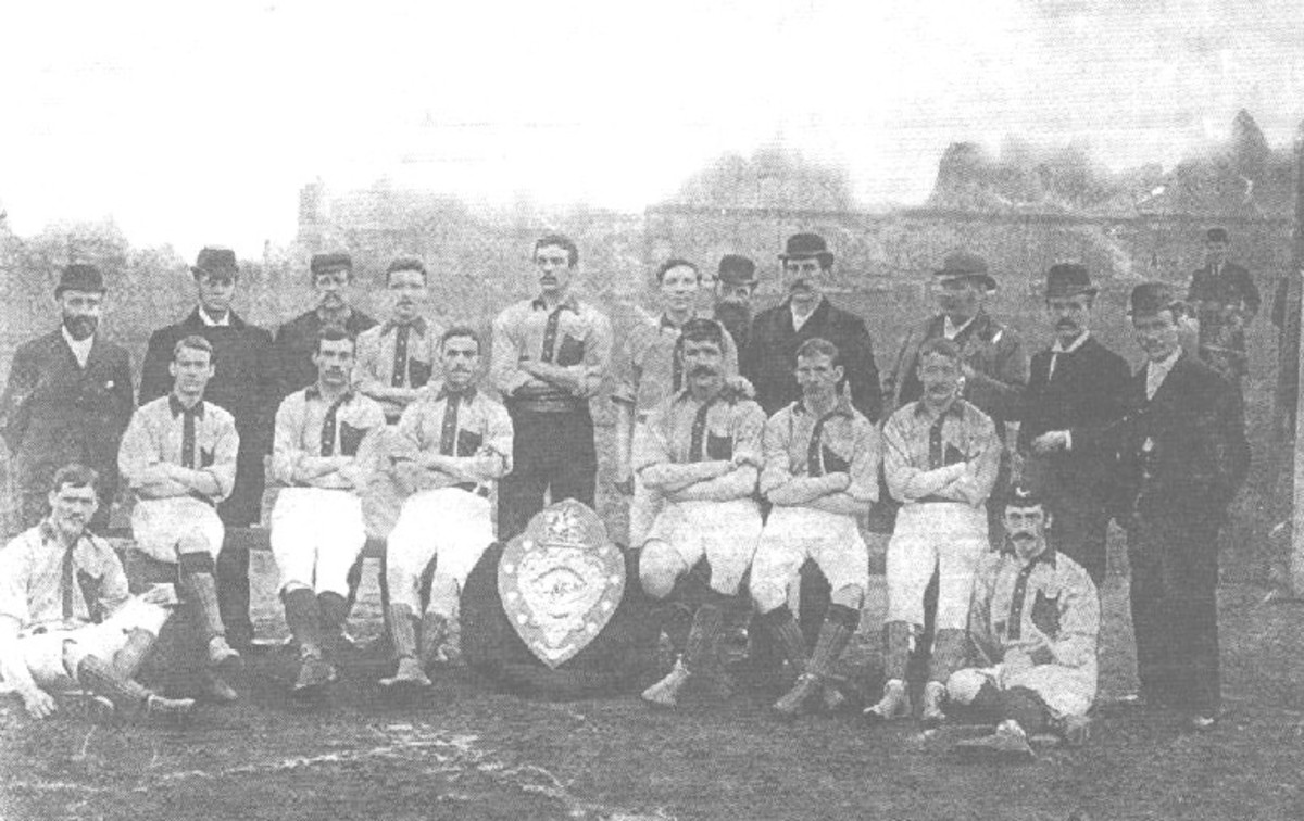 The Small Heath FC squad displaying the Second Division trophy after a successful 1892/93 season.
