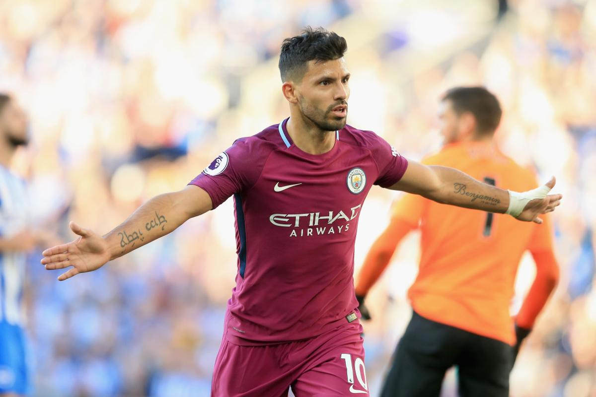 Aguero after scoring in a deadlocked game in the 70th minute.