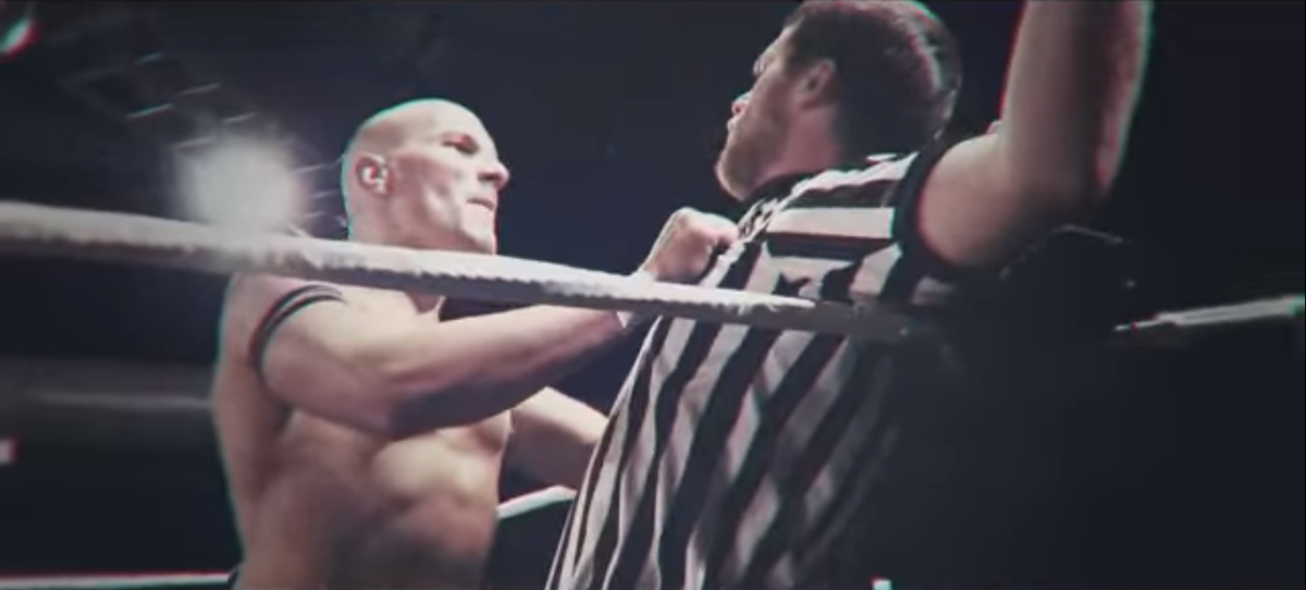 Kirby threatening a ref at a Defiant Wrestling taping.