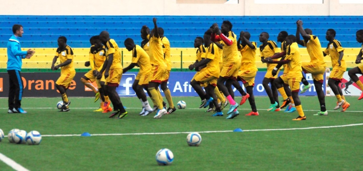 Ugandan players particiate in a training ahead of the 2016 African Nations Championship in Umuganda Stadium in Giseyi, Rwanda on January 17, 2016