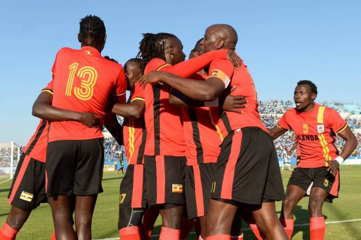 Ugandan players celebrate after a goal in a 2017 Africa Cup of Nations qualifier in Francistown, Botswana. During its successful campagin to reach the 2017 African Cup of Nations, six separate players scored a goal for Uganda.