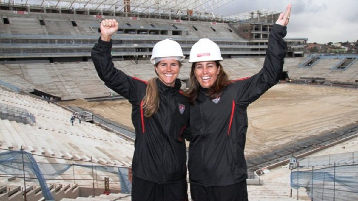 Julie Foudy (right), pictured with Brandi Chastain
