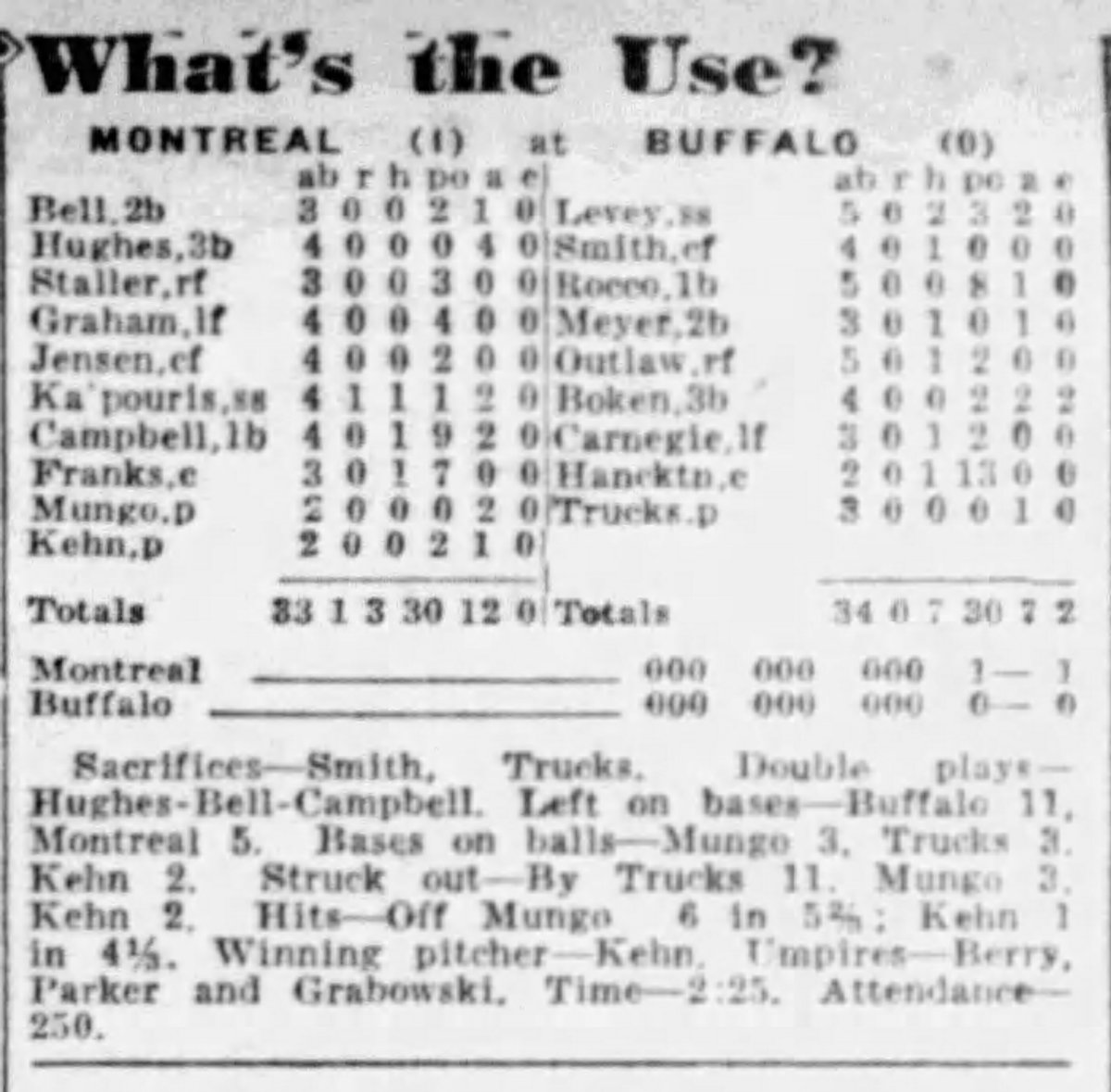 A box score from May 31, 1941, when then-minor leaguer Virgil Trucks threw 9 2/3 no-hit innings for the Buffalo Bisons but lost in 10 innings to Montreal.