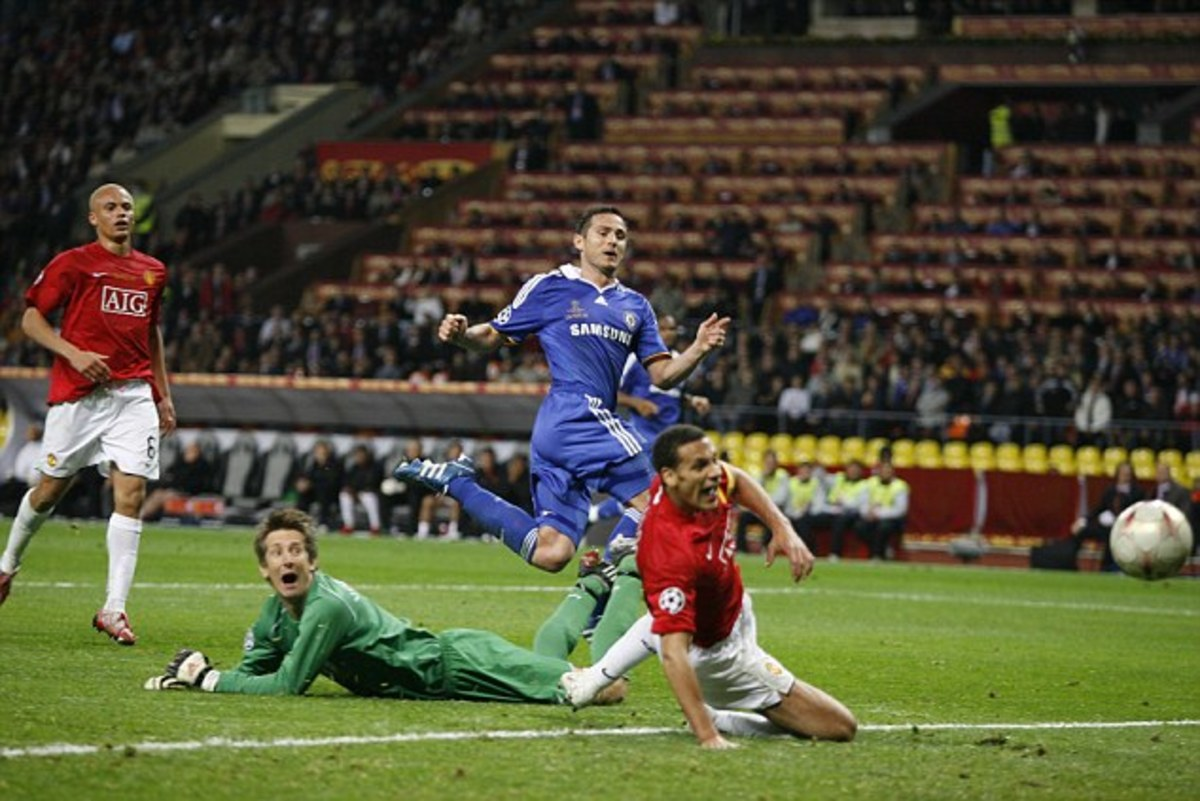 Frank Lampard drawing Chelsea level at the 2008 Champions League Final