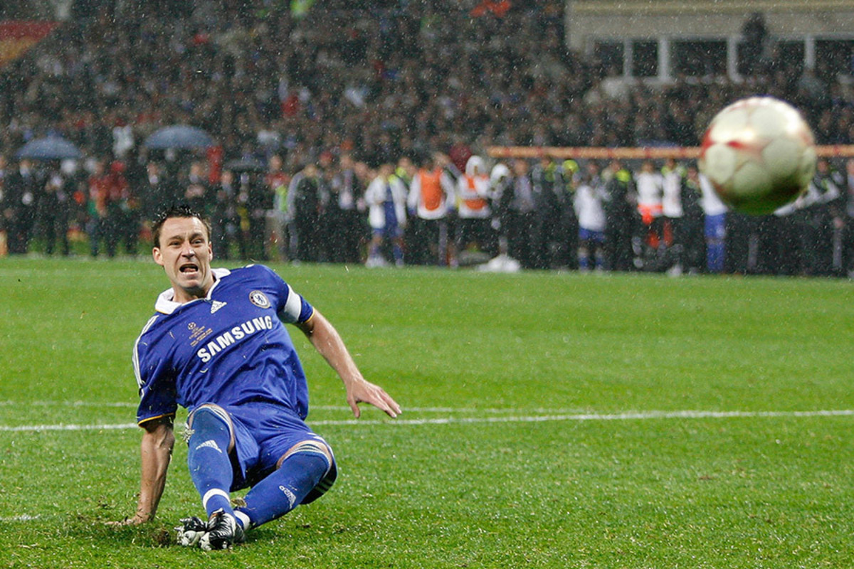John Terry during his infamous slip at the 2008 Champions League Final