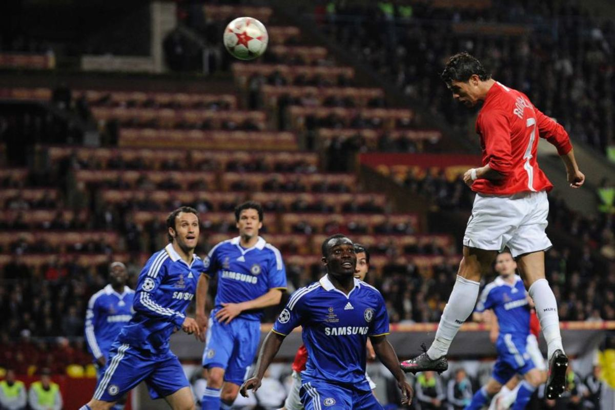 Ronaldo climbs up and scores the opening goal at the 2008 Champions League Final