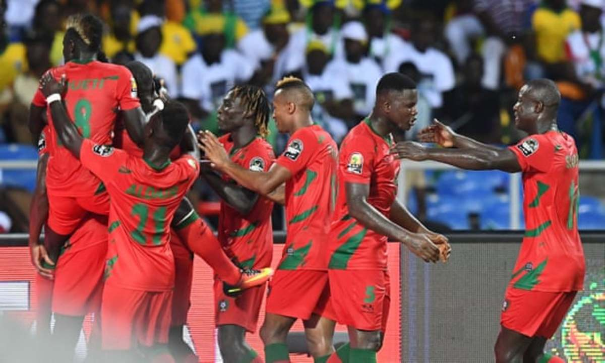 Guinea-Bissau players celebrate during the opening game of the 2017 Africa Cup of Nations in Libreville, Gabon on Jan. 14, 2017.. Juary Soares scored one minute into stoppage time as Guinea-Bissau earned a shocking 1-1 draw.