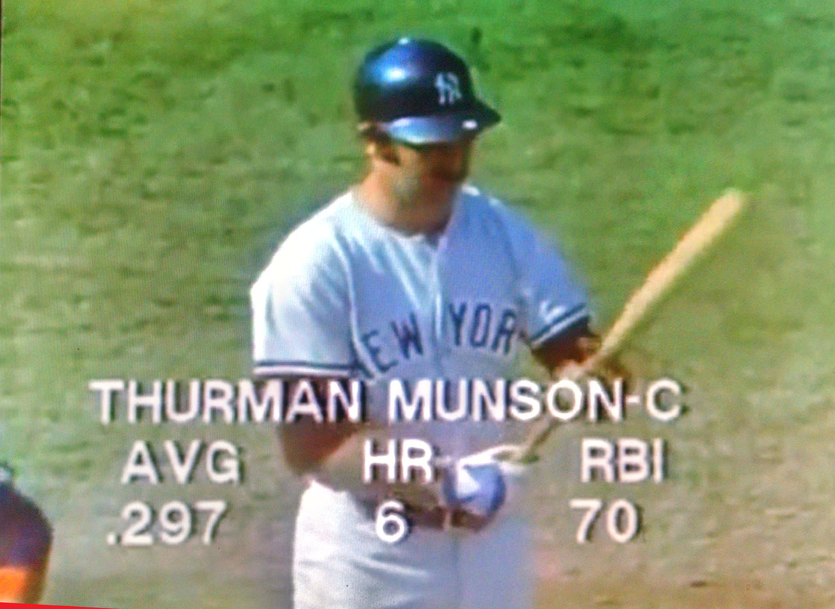 A screen shot of Munson coming to the plate in the one-game playoff with Boston in 1978.
