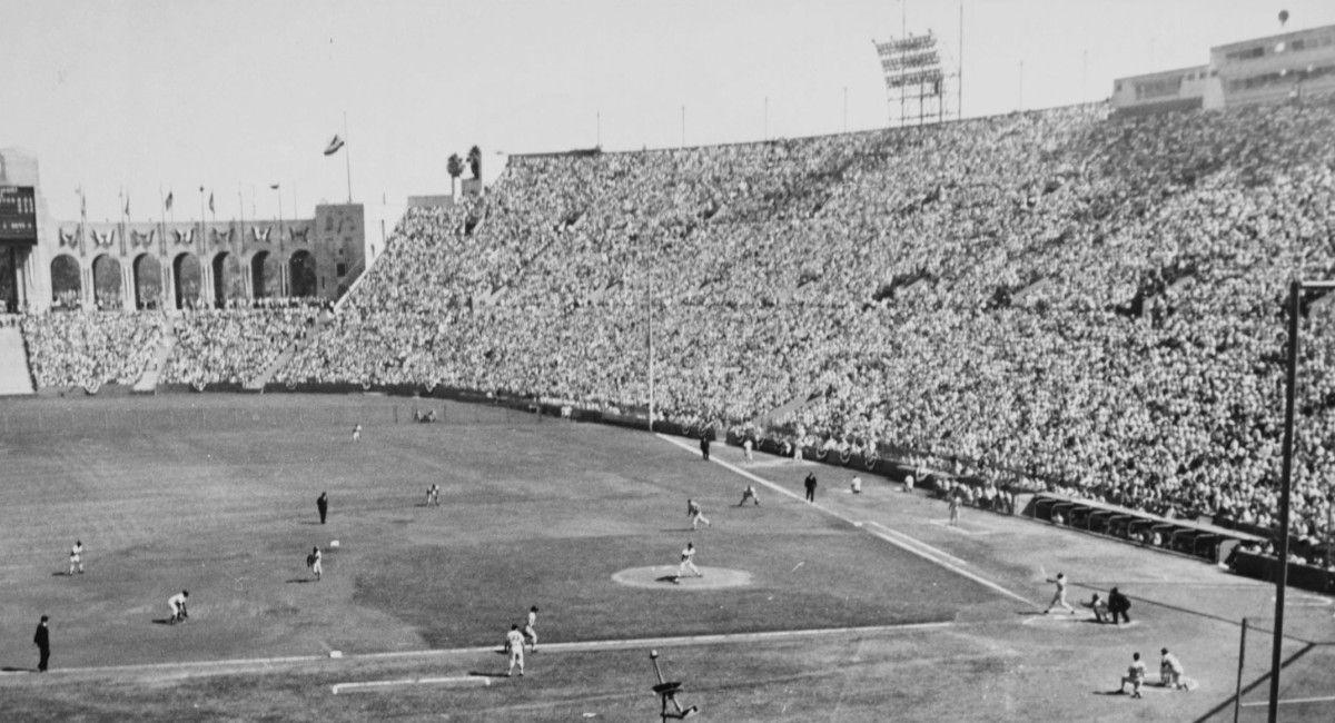 The Los Angeles Coliseum, pictured here hosting the 1959 World Series, was not built for baseball, but could house a crowd of over 90,000 at full capacity.