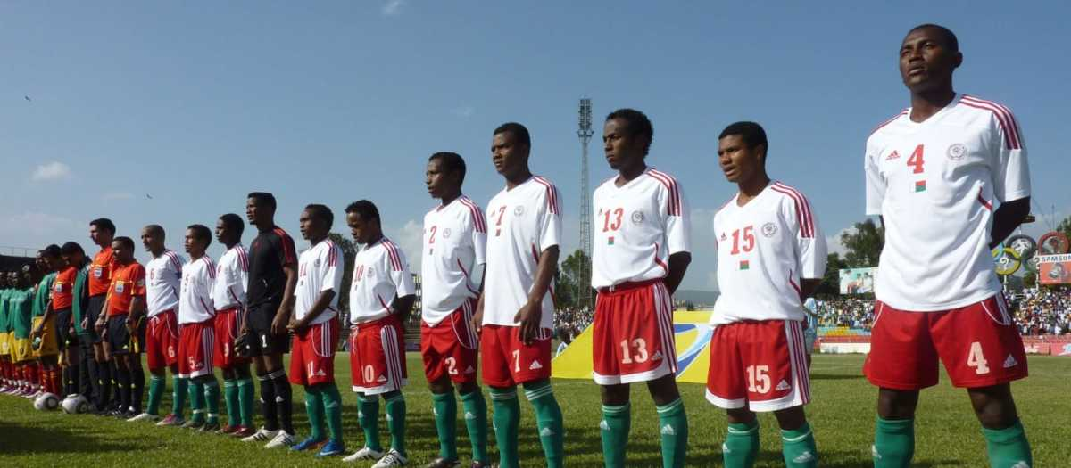 Madagascar's players (white jerseys) line up ahead of a 2012 Africa Cup of Nations qualifier in Addis Ababa, Ethiopia on Oct. 8, 2011. Madagascar lost the match 4-2