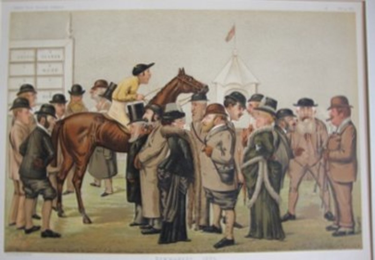 The paddock at Newmarket with Fred mounted and the Prince of Wales, bearded and in plus-fours in attendance (centre).