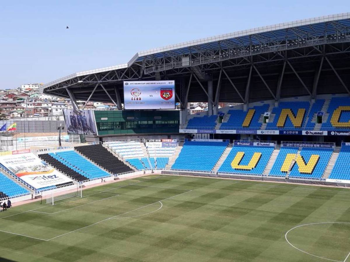 Incheon Football Stadium in Incheon, South Korea hosted a 2019 Asian Cup qualifier between Kyrgyzstan and Myanmar. Originally scheduled in September 2017, the game was moved to this stadium and played on Mar. 22, 2018.