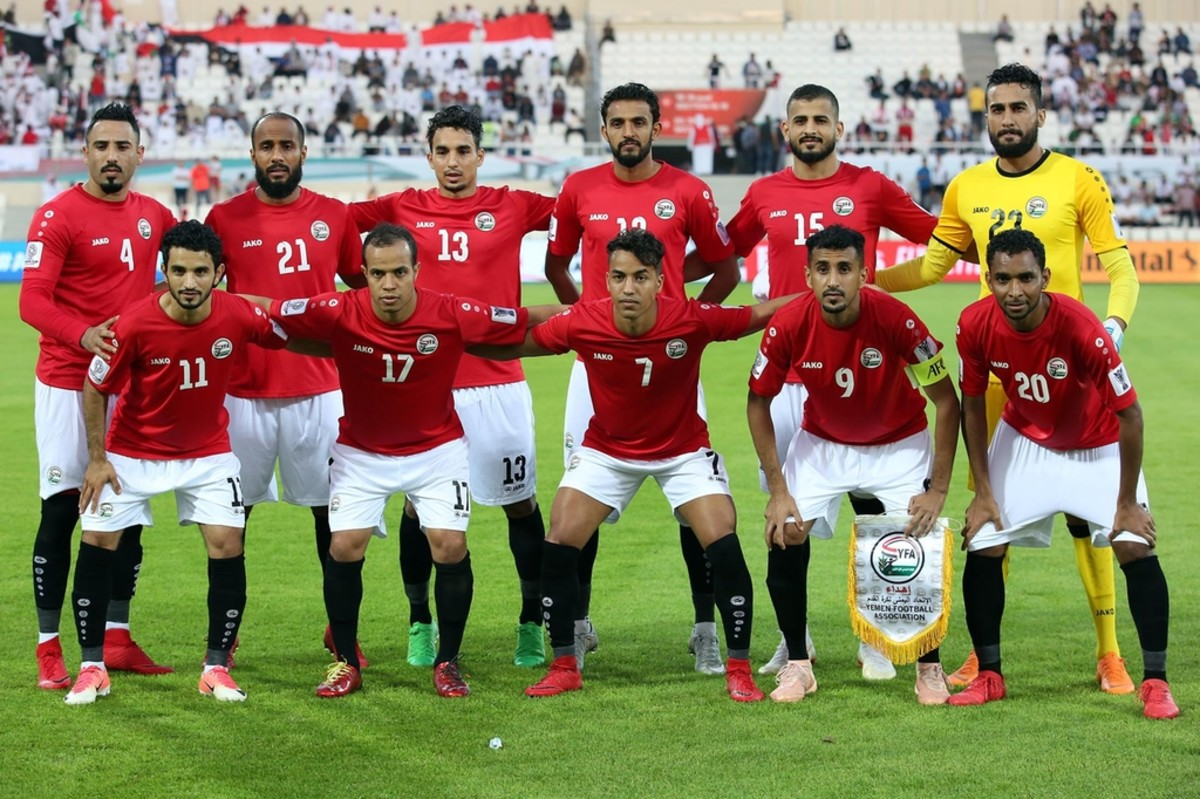 Yemen's staring lineup ahead of the 2019 Asian Cup group stage match against Iraq in Sharjah, United Arab Emirates. Captaining Yemen at this tournament was Alaa Al-Sasi (#9), Yemen all-time cap leader with 87.