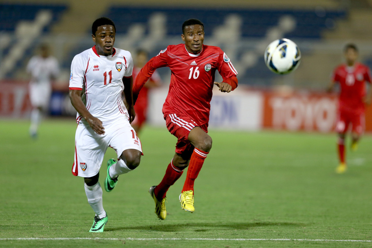 Mohamad Al-Boqsan (#10) chases for a ball with United Arab Emirates during the 2013 AFC U-22 Championship group stage match on Jan. 13, 2014 in Muscat, Oman. Boqsan would go on to be one of 23 players on Yemen's Asian Cup squad.