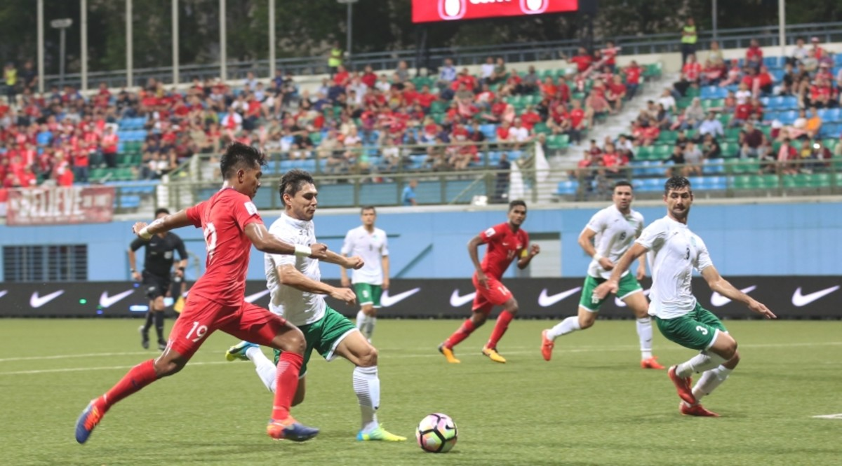 Singapore in action against Turkmenistan during a 2019 Asian Cup qualifier. Turkmenistan salvaged a draw after trailing 1-0 in the match.