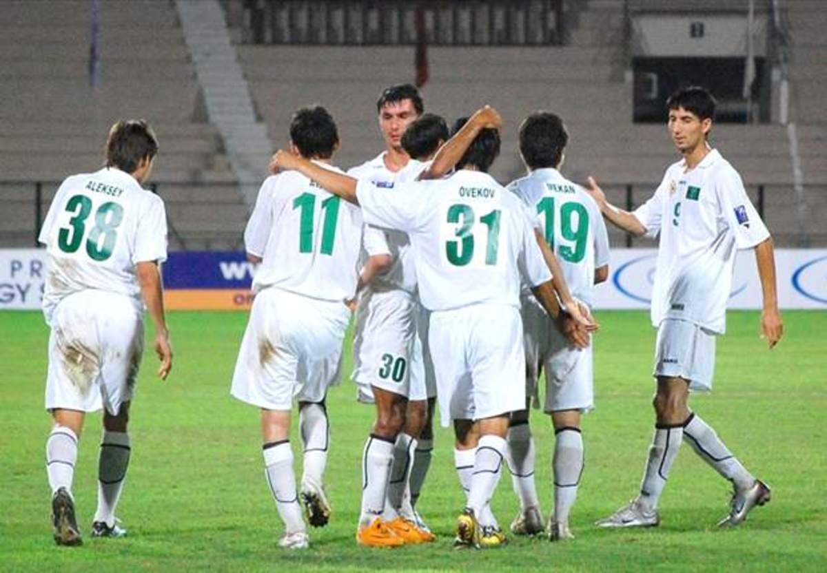 Players celebrate during a 2010 AFC Asian Cup qualifying match that saw Turkmenistan qualify. The 2010 and 2012 editions saw Turkmenistan miss out on an Asian Cup berth in the final against North Korea.