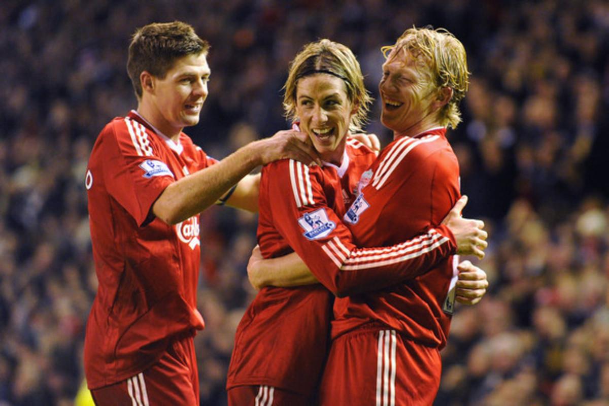 Steven Gerrard, Fernando Torres and Dirk Kuyt.