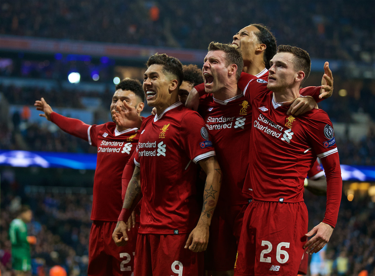 Liverpool celebrating their win at the Etihad.