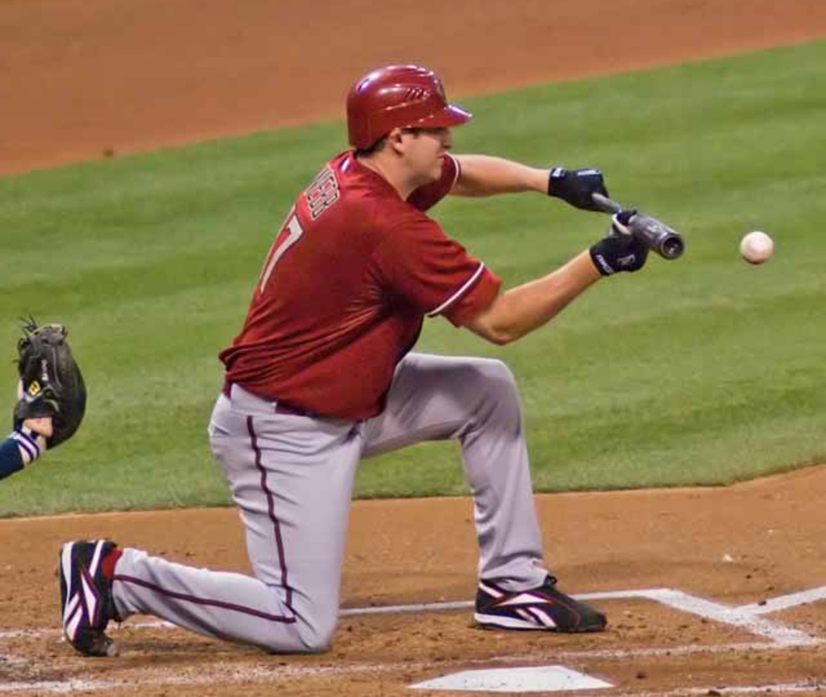Former Arizona Diamondbacks pitcher Brandon Webb bunts during a 2007 game. Webb won the 2006 National League Cy Young Award while with the Diamondbacks.