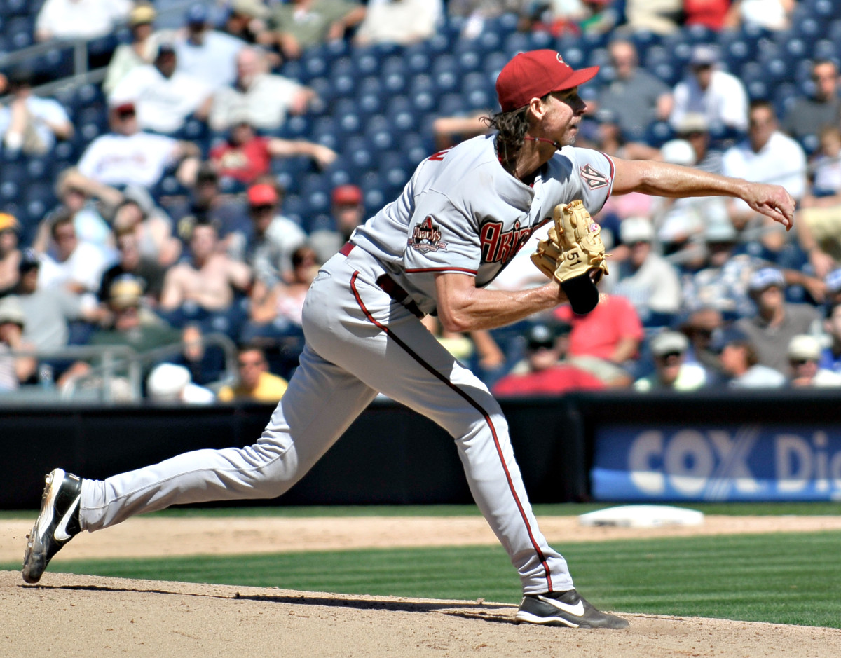 Former Arizona Diamondbacks pitcher Randy Johnson fires a pitch during the 2008 season. Johnson won four Cy Young Awards while with the Diamondbacks.