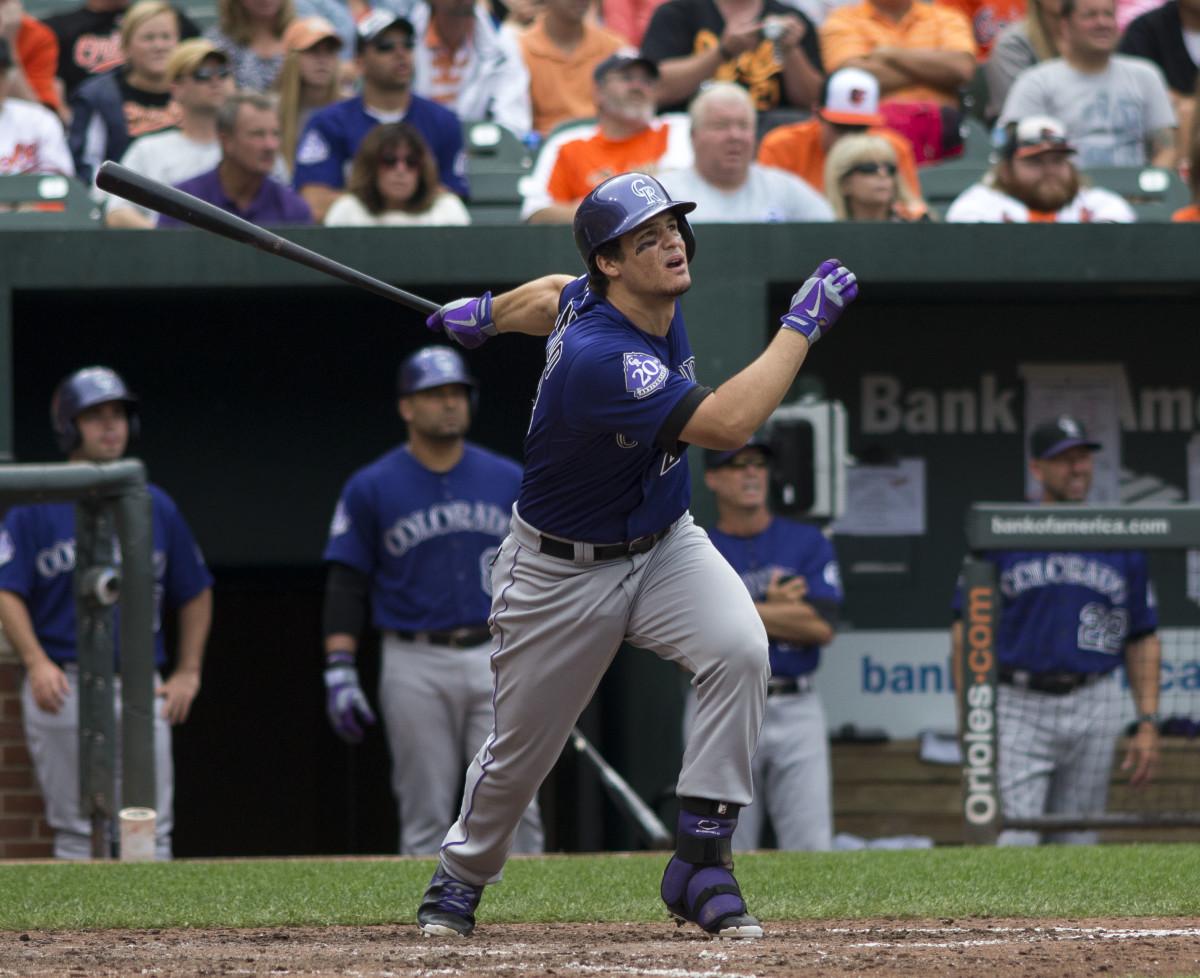 Colorado Rockies third baseman Nolan Arenado watches the ball during a 2013 game.