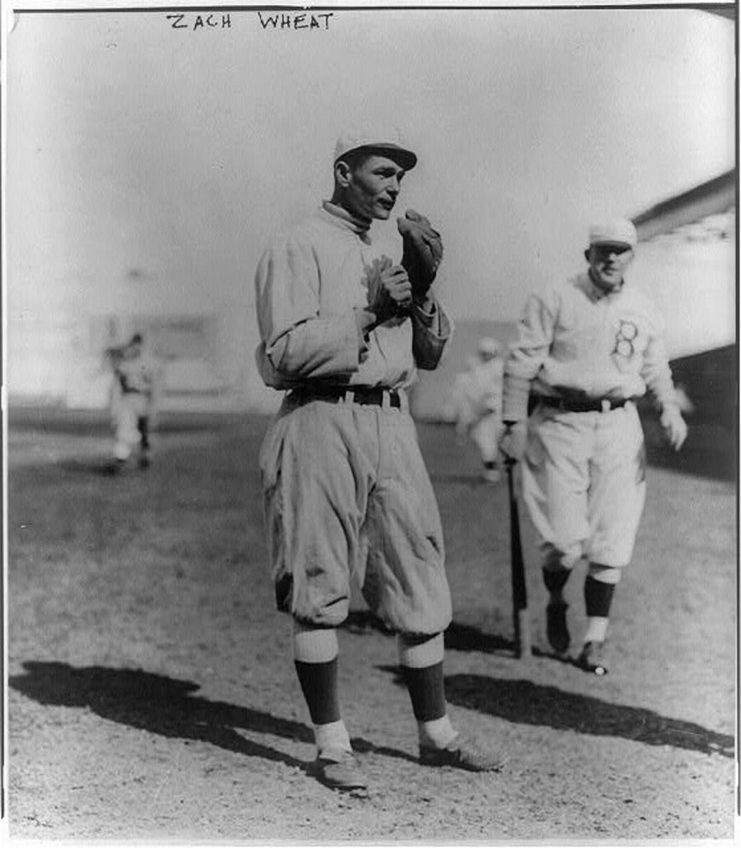Zack Wheat, seen during the 1914 season in Brooklyn, had one of the longest careers ever with the Dodgers, spending 18 seasons with the franchise.